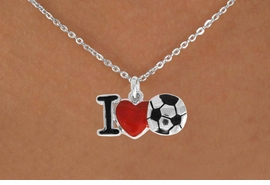 "<bR>               EXCLUSIVELY OURS!!<BR>         AN ALLAN ROBIN DESIGN!!<BR>CLICK HERE TO SEE 120+ EXCITING<BR>   CHANGES THAT YOU CAN MAKE!<BR>              LEAD & NICKEL FREE!!<BR>        W840SN - ""I LOVE SOCCER""<Br>  NECKLACE FROM $4.50TO $8.35<BR>                              &#169;2011"