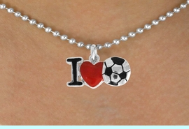 """<bR>               EXCLUSIVELY OURS!!<BR>         AN ALLAN ROBIN DESIGN!!<BR>CLICK HERE TO SEE 120+ EXCITING<BR>   CHANGES THAT YOU CAN MAKE!<BR>              LEAD & NICKEL FREE!!<BR>        W840SN - """"I LOVE SOCCER""""<Br>  NECKLACE FROM $4.50TO $8.35<BR>                              &#169;2011"""