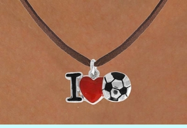 """<bR>               EXCLUSIVELY OURS!!<BR>         AN ALLAN ROBIN DESIGN!!<BR>CLICK HERE TO SEE 120+ EXCITING<BR>   CHANGES THAT YOU CAN MAKE!<BR>              LEAD & NICKEL FREE!!<BR>        W840SN - """"I LOVE SOCCER""""<Br>  NECKLACE FROM $4.50 TO $8.35<BR>                              &#169;2011"""