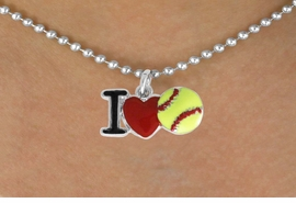 "<bR>         SOFTBALL NECKLACE - ADJUSTABLE<BR>      <BR>         <BR>     LEAD, CADMIUM,  & NICKEL FREE!!<BR>    W841N5 - ""I LOVE SOFT BALL""<Br>  NECKLACE   $8.68 EACH   &#169;2011"