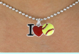 """<bR>         SOFTBALL NECKLACE - ADJUSTABLE<BR>      <BR>         <BR>     LEAD, CADMIUM,  & NICKEL FREE!!<BR>    W841N5 - """"I LOVE SOFT BALL""""<Br>  NECKLACE   $8.68 EACH   &#169;2011"""
