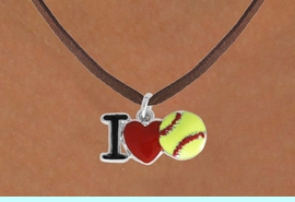 """<bR>          WHOLESALE SOFTBALL NECKLACE - ADJUSTABLE<BR>              <BR>             <BR>             NICKLE, LEAD & CADMIUM FREE!!<BR>    W841N4 - """"I LOVE SOFT BALL""""<Br>  NECKLACE   $8.68  EACH     &#169;2011"""