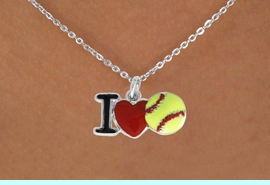 """<bR>              SOFTBALL NECKLACE - ADJUSTABLE<BR>         <BR>          <BR>    LEAD, NICKLE, & CADMIUM FREE!!<BR>    W841N1 - """"I LOVE SOFT BALL""""<Br>  NECKLACE   $8.68EACH  &#169;2011"""