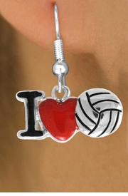 "<bR>               EXCLUSIVELY OURS!!<BR>         AN ALLAN ROBIN DESIGN!!<BR>CLICK HERE TO SEE 120+ EXCITING<BR>   CHANGES THAT YOU CAN MAKE!<BR>              LEAD & NICKEL FREE!!<BR>  W842SE - ""I LOVE VOLLEYBALL""<Br>  EARRINGS FROM $4.50 TO $8.35<BR>                              &#169;2011"