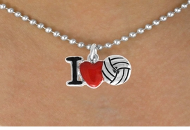 "<bR>               EXCLUSIVELY OURS!!<BR>         AN ALLAN ROBIN DESIGN!!<BR>CLICK HERE TO SEE 120+ EXCITING<BR>   CHANGES THAT YOU CAN MAKE!<BR>              LEAD & NICKEL FREE!!<BR>  W842SN - ""I LOVE VOLLEYBALL""<Br>  NECKLACE FROM $4.50 TO $8.35<BR>                              &#169;2011"