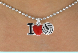 """<bR>               EXCLUSIVELY OURS!!<BR>         AN ALLAN ROBIN DESIGN!!<BR>CLICK HERE TO SEE 120+ EXCITING<BR>   CHANGES THAT YOU CAN MAKE!<BR>              LEAD & NICKEL FREE!!<BR>  W842SN - """"I LOVE VOLLEYBALL""""<Br>  NECKLACE FROM $4.50 TO $8.35<BR>                              &#169;2011"""