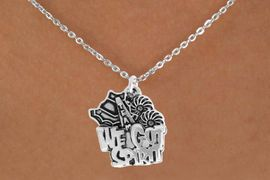 "<bR>               EXCLUSIVELY OURS!!<BR>         AN ALLAN ROBIN DESIGN!!<BR>CLICK HERE TO SEE 120+ EXCITING<BR>   CHANGES THAT YOU CAN MAKE!<BR>              LEAD & NICKEL FREE!!<BR>     W843SN - ""WE'VE GOT SPIRIT""<Br>  NECKLACE FROM $4.50 TO $8.35<br>                              �2011"