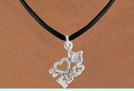 """<bR>               EXCLUSIVELY OURS!!<BR>         AN ALLAN ROBIN DESIGN!!<BR>CLICK HERE TO SEE 120+ EXCITING<BR>   CHANGES THAT YOU CAN MAKE!<BR>              LEAD & NICKEL FREE!!<BR>        W903SN - """"I LOVE FLAGS""""<Br>  NECKLACE FROM $4.50 TO $8.35"""