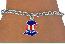 """<bR>               EXCLUSIVELY OURS!!<Br>         AN ALLAN ROBIN DESIGN!!<BR>CLICK HERE TO SEE 120+ EXCITING<BR>   CHANGES THAT YOU CAN MAKE!<BR> W728SB - AMERICAN FLAG STYLE<Br>     """"UNCLE SAM'S HAT"""" CHARM &<Br>   BRACELET FROM  $4.50 TO $8.35"""