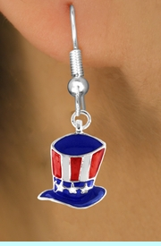 """<bR>               EXCLUSIVELY OURS!!<Br>         AN ALLAN ROBIN DESIGN!!<BR>CLICK HERE TO SEE 120+ EXCITING<BR>   CHANGES THAT YOU CAN MAKE!<BR> W728SE - AMERICAN FLAG STYLE<Br>    """"UNCLE SAM'S HAT"""" CHARM &<Br>  EARRINGS FROM  $4.50 TO $8.35"""