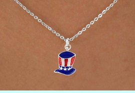 """<bR>               EXCLUSIVELY OURS!!<Br>         AN ALLAN ROBIN DESIGN!!<BR>CLICK HERE TO SEE 120+ EXCITING<BR>   CHANGES THAT YOU CAN MAKE!<BR> W728SN - AMERICAN FLAG STYLE<Br>     """"UNCLE SAM'S HAT"""" CHARM &<Br>   NECKLACE FROM  $4.50 TO $8.35"""