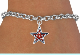 """<bR>               EXCLUSIVELY OURS!!<Br>         AN ALLAN ROBIN DESIGN!!<BR>CLICK HERE TO SEE 120+ EXCITING<BR>   CHANGES THAT YOU CAN MAKE!<BR> W729SB - RED """"PATRIOTIC STAR""""<Br>        CHARM & BRACELET FROM<Br>                     $4.50 TO $8.35"""