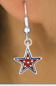 """<bR>               EXCLUSIVELY OURS!!<Br>         AN ALLAN ROBIN DESIGN!!<BR>CLICK HERE TO SEE 120+ EXCITING<BR>   CHANGES THAT YOU CAN MAKE!<BR>  W729SE - RED """"PATRIOTIC STAR""""<Br>         CHARM & EARRINGS FROM<Br>                      $4.50 TO $8.35"""