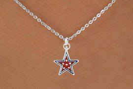 """<bR>               EXCLUSIVELY OURS!!<Br>         AN ALLAN ROBIN DESIGN!!<BR>CLICK HERE TO SEE 120+ EXCITING<BR>   CHANGES THAT YOU CAN MAKE!<BR> W729SN - RED """"PATRIOTIC STAR""""<Br>        CHARM & NECKLACE FROM<Br>                     $4.50 TO $8.35"""