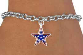 """<bR>               EXCLUSIVELY OURS!!<Br>         AN ALLAN ROBIN DESIGN!!<BR>CLICK HERE TO SEE 120+ EXCITING<BR>   CHANGES THAT YOU CAN MAKE!<BR> W730SB - BLUE """"PATRIOTIC STAR""""<Br>         CHARM & BRACELET FROM<Br>                      $4.50 TO $8.35"""