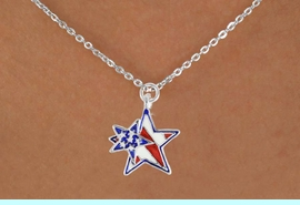 """<bR>               EXCLUSIVELY OURS!!<Br>         AN ALLAN ROBIN DESIGN!!<BR>CLICK HERE TO SEE 120+ EXCITING<BR>   CHANGES THAT YOU CAN MAKE!<BR>   W731SN -  """"PATRIOTIC 2-STAR""""<Br>        CHARM & NECKLACE FROM<Br>                     $4.50 TO $8.35"""