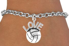 <bR>                    EXCLUSIVELY OURS!!<Br>              AN ALLAN ROBIN DESIGN!!<BR>  CLICK HERE TO SEE 500+ EXCITING<BR>     CHANGES THAT YOU CAN MAKE!<BR>                LEAD & NICKEL FREE!!<BR> W764SB - VOLLEYBALL �LOVE� CHARM<Br>         BRACELET FROM $4.50 TO $8.35