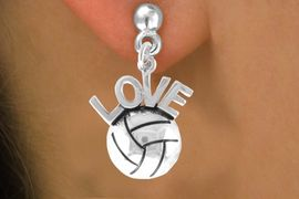 "<bR>                    EXCLUSIVELY OURS!!<Br>              AN ALLAN ROBIN DESIGN!!<BR>  CLICK HERE TO SEE 500+ EXCITING<BR>     CHANGES THAT YOU CAN MAKE!<BR>                LEAD & NICKEL FREE!!<BR>   W764SE - VOLLEYBALL ""LOVE"" CHARM <BR>         EARRINGS FROM $4.50 TO $8.35"