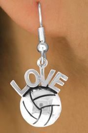 """<bR>                    EXCLUSIVELY OURS!!<Br>              AN ALLAN ROBIN DESIGN!!<BR>  CLICK HERE TO SEE 500+ EXCITING<BR>     CHANGES THAT YOU CAN MAKE!<BR>                LEAD & NICKEL FREE!!<BR>     W764SE - VOLLEYBALL """"LOVE"""" CHARM <BR>         EARRINGS FROM $4.50 TO $8.35"""