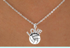 """<bR>                 EXCLUSIVELY OURS!!<Br>           AN ALLAN ROBIN DESIGN!!<BR>  CLICK HERE TO SEE 500+ EXCITING<BR>     CHANGES THAT YOU CAN MAKE!<BR>                LEAD & NICKEL FREE!!<BR>  W764SN - VOLLEYBALL """"LOVE"""" CHARM <BR>        NECKLACE FROM $4.50 TO $8.35"""