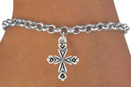 <bR>                    EXCLUSIVELY OURS!!<Br>              AN ALLAN ROBIN DESIGN!!<BR>  CLICK HERE TO SEE 500+ EXCITING<BR>     CHANGES THAT YOU CAN MAKE!<BR>                LEAD & NICKEL FREE!!<BR>       W766SB - ORNATE CROSS CHARM<Br>        BRACELET FROM $4.50 TO $8.35