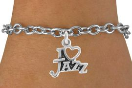 "<bR>                    EXCLUSIVELY OURS!!<Br>              AN ALLAN ROBIN DESIGN!!<BR>  CLICK HERE TO SEE 500+ EXCITING<BR>     CHANGES THAT YOU CAN MAKE!<BR>                LEAD & NICKEL FREE!!<BR>                W768SB - ""I LOVE"" JAZZ<Br>        BRACELET FROM $4.50 TO $8.35"