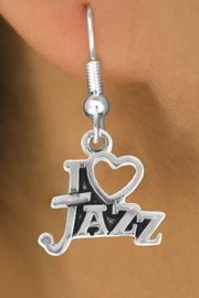 "<bR>                    EXCLUSIVELY OURS!!<Br>              AN ALLAN ROBIN DESIGN!!<BR>  CLICK HERE TO SEE 500+ EXCITING<BR>     CHANGES THAT YOU CAN MAKE!<BR>                LEAD & NICKEL FREE!!<BR>        W768SE - I ""LOVE"" JAZZ CHARM <BR>      EARRINGS FROM $4.50 TO $8.35"