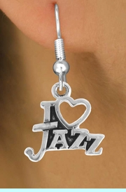 """<bR>                    EXCLUSIVELY OURS!!<Br>              AN ALLAN ROBIN DESIGN!!<BR>  CLICK HERE TO SEE 500+ EXCITING<BR>     CHANGES THAT YOU CAN MAKE!<BR>                LEAD & NICKEL FREE!!<BR>        W768SE - I """"LOVE"""" JAZZ CHARM <BR>      EARRINGS FROM $4.50 TO $8.35"""