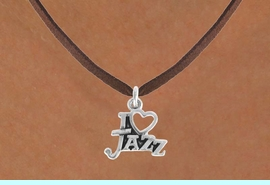 """<bR>                 EXCLUSIVELY OURS!!<Br>           AN ALLAN ROBIN DESIGN!!<BR>  CLICK HERE TO SEE 500+ EXCITING<BR>     CHANGES THAT YOU CAN MAKE!<BR>                LEAD & NICKEL FREE!!<BR>       W768SN - I """"LOVE"""" JAZZ CHARM <BR>        NECKLACE FROM $4.50 TO $8.35"""