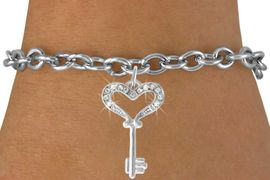 <Br>               EXCLUSIVELY OURS!!<Br>          AN ALLAN ROBIN DESIGN!!<Br>CLICK HERE TO SEE 500+ EXCITING<BR>   CHANGES THAT YOU CAN MAKE!<BR>              LEAD & NICKEL FREE!!<BR>W774SB - KEY TO MY HEART WITH A <BR> CRYSTAL ACCENT CHARM & BRACELET <BR>              FROM $4.05 TO $8.50