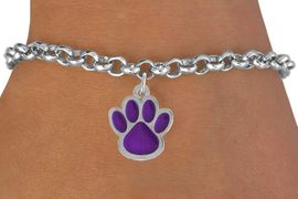 <bR>               EXCLUSIVELY OURS!!<Br>         AN ALLAN ROBIN DESIGN!!<BR>CLICK HERE TO SEE 500+ EXCITING<BR>   CHANGES THAT YOU CAN MAKE!<BR>              LEAD & NICKEL FREE!!<BR>    W783SB - LARGE PURPLE PAW &<Br>   BRACELET FROM $4.50 TO $8.35