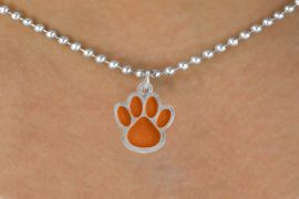 <bR>                 EXCLUSIVELY OURS!!<Br>           AN ALLAN ROBIN DESIGN!!<BR>  CLICK HERE TO SEE 500+ EXCITING<BR>     CHANGES THAT YOU CAN MAKE!<BR>                LEAD & NICKEL FREE!!<BR>       W784SN - LARGE ORANGE PAW &<BR>     NECKLACE FROM $4.50 TO $8.35