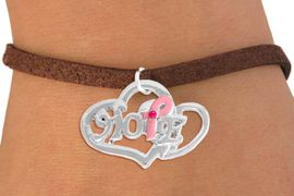 """<bR>                  EXCLUSIVELY OURS!!<BR>            AN ALLAN ROBIN DESIGN!!<BR>   CLICK HERE TO SEE 500+ EXCITING<BR>      CHANGES THAT YOU CAN MAKE!<BR>                 LEAD & NICKEL FREE!!<BR>W818SB - """"HOPE"""" PINK AWARENESS<BR>RIBBON AND DOUBLE-HEART CHARM<Br>    & BRACELET FROM $4.50 TO $8.35"""