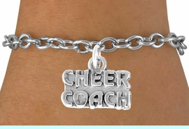"""<bR>                  EXCLUSIVELY OURS!!<Br>            AN ALLAN ROBIN DESIGN!!<BR>   CLICK HERE TO SEE 500+ EXCITING<BR>      CHANGES THAT YOU CAN MAKE!<BR>                 LEAD & NICKEL FREE!!<BR>      W838SB - """"CHEER COACH"""" CHARM<Br>        BRACELET FROM $4.50 TO $8.35"""