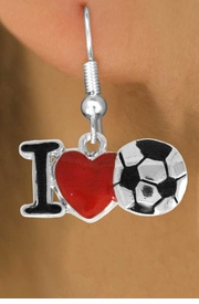 """<bR>               EXCLUSIVELY OURS!!<BR>         AN ALLAN ROBIN DESIGN!!<BR>CLICK HERE TO SEE 500+ EXCITING<BR>   CHANGES THAT YOU CAN MAKE!<BR>              LEAD & NICKEL FREE!!<BR>        W840SE - """"I LOVE SOCCER""""<Br>  EARRINGS FROM $4.50 TO $8.35<BR>                              &#169;2011"""