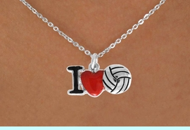 """<bR>               EXCLUSIVELY OURS!!<BR>         AN ALLAN ROBIN DESIGN!!<BR>CLICK HERE TO SEE 500+ EXCITING<BR>   CHANGES THAT YOU CAN MAKE!<BR>              LEAD & NICKEL FREE!!<BR>  W842SN - """"I LOVE VOLLEYBALL""""<Br>  NECKLACE FROM $4.50 TO $8.35<BR>                              &#169;2011"""