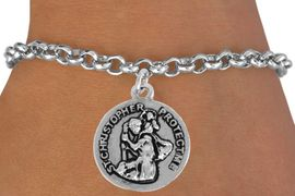 <bR>               EXCLUSIVELY OURS!!<BR>         AN ALLAN ROBIN DESIGN!!<BR>CLICK HERE TO SEE 500+ EXCITING<BR>   CHANGES THAT YOU CAN MAKE!<BR>              LEAD & NICKEL FREE!!<BR>    W845SB - RAISED 2 SIDED ST. <BR>CHRISTOPHER PROTECT ME CHARM<Br>  BRACELET FROM $4.50 TO $8.35