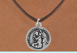 <bR>               EXCLUSIVELY OURS!!<BR>         AN ALLAN ROBIN DESIGN!!<BR>CLICK HERE TO SEE 500+ EXCITING<BR>   CHANGES THAT YOU CAN MAKE!<BR>              LEAD & NICKEL FREE!!<BR>    W845SN - RAISED 2 SIDED ST. <BR>CHRISTOPHER PROTECT ME CHARM <Br>  NECKLACE FROM $4.50 TO $8.35