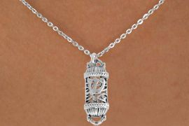 """<bR>               EXCLUSIVELY OURS!!<BR>         AN ALLAN ROBIN DESIGN!!<BR>CLICK HERE TO SEE 500+ EXCITING<BR>   CHANGES THAT YOU CAN MAKE!<BR>              LEAD & NICKEL FREE!!<BR>    W846SN - """"MEZUZAH"""" CHARM <Br>  NECKLACE FROM $4.50 TO $8.35"""