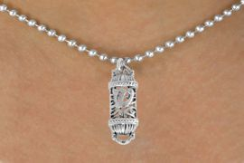 "<bR>               EXCLUSIVELY OURS!!<BR>         AN ALLAN ROBIN DESIGN!!<BR>CLICK HERE TO SEE 500+ EXCITING<BR>   CHANGES THAT YOU CAN MAKE!<BR>              LEAD & NICKEL FREE!!<BR>    W846SN - ""MEZUZAH"" CHARM <Br>  NECKLACE FROM $4.50 TO $8.35"
