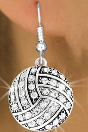 <bR>               EXCLUSIVELY OURS!!<BR>         AN ALLAN ROBIN DESIGN!!<BR>CLICK HERE TO SEE 500+ EXCITING<BR>   CHANGES THAT YOU CAN MAKE!<BR>              LEAD & NICKEL FREE!!<BR>     W909SE - AUSTRIAN CRYSTAL<Br> VOLLEYBALL CHARM  EARRINGS<Br>              FROM $5.65 TO $10.00