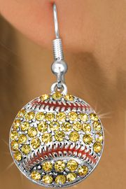 <bR>               EXCLUSIVELY OURS!!<BR>         AN ALLAN ROBIN DESIGN!!<BR>CLICK HERE TO SEE 500+ EXCITING<BR>   CHANGES THAT YOU CAN MAKE!<BR>              LEAD & NICKEL FREE!!<BR>     W973SE - YELLOW AUSTRIAN <Br>    CRYSTAL SOFTBALL CHARM  <Br>     EARRINGS FROM $5.65 TO $10.00