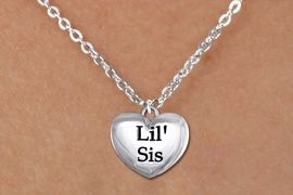 """<bR>               EXCLUSIVELY OURS!!<BR>         AN ALLAN ROBIN DESIGN!!<BR>CLICK HERE TO SEE 600+ EXCITING<BR>   CHANGES THAT YOU CAN MAKE!<BR>      CADMIUM,  LEAD & NICKEL FREE!! <BR>W1295SN -  POLISHED SILVER TONE <Br>""""LIL' SIS"""" HEART & CHILD'S NECKLACE <BR>      FROM $4.50 TO $8.35 �2012"""