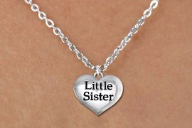 """<bR>               EXCLUSIVELY OURS!!<BR>         AN ALLAN ROBIN DESIGN!!<BR>CLICK HERE TO SEE 600+ EXCITING<BR>   CHANGES THAT YOU CAN MAKE!<BR>      CADMIUM,  LEAD & NICKEL FREE!! <BR>W1296SN -  POLISHED SILVER TONE <Br>""""LITTLE SISTER"""" HEART & CHILD'S NECKLACE <BR>      FROM $4.50 TO $8.35 �2012"""