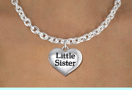 """<bR>               EXCLUSIVELY OURS!!<BR>         AN ALLAN ROBIN DESIGN!!<BR>CLICK HERE TO SEE 600+ EXCITING<BR>   CHANGES THAT YOU CAN MAKE!<BR>      CADMIUM,  LEAD & NICKEL FREE!! <BR>W1296SN -  POLISHED SILVER TONE <Br>""""LITTLE SISTER"""" HEART & NECKLACE <BR>      FROM $4.50 TO $8.35 �2012"""