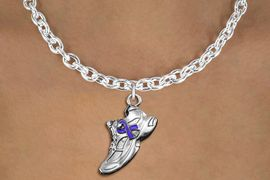 <bR>               EXCLUSIVELY OURS!!<BR>         AN ALLAN ROBIN DESIGN!!<BR>CLICK HERE TO SEE 600+ EXCITING<BR>   CHANGES THAT YOU CAN MAKE!<BR>      CADMIUM,  LEAD & NICKEL FREE!! <BR>W1303SN -  SILVER TONE SNEAKER WITH <Br>PURPLE RIBBON HEART CHARM  & NECKLACE <BR>      FROM $4.50 TO $8.35 �2012