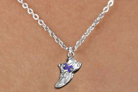 <bR>               EXCLUSIVELY OURS!!<BR>         AN ALLAN ROBIN DESIGN!!<BR>CLICK HERE TO SEE 600+ EXCITING<BR>   CHANGES THAT YOU CAN MAKE!<BR>      CADMIUM,  LEAD & NICKEL FREE!! <BR>W1303SN -  SILVER TONE SNEAKER WITH <Br>PURPLE RIBBON HEART CHILDS NECKLACE <BR>      FROM $4.50 TO $8.35 �2012