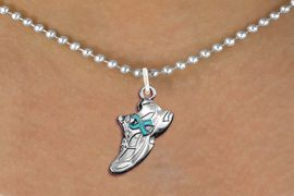 <bR>               EXCLUSIVELY OURS!!<BR>         AN ALLAN ROBIN DESIGN!!<BR>CLICK HERE TO SEE 600+ EXCITING<BR>   CHANGES THAT YOU CAN MAKE!<BR>      CADMIUM,  LEAD & NICKEL FREE!! <BR>W1304SN -  SILVER TONE SNEAKER WITH <Br>TEAL RIBBON HEART CHARM  & NECKLACE <BR>      FROM $4.50 TO $8.35 �2012