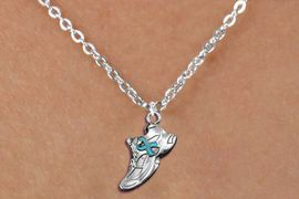 <bR>               EXCLUSIVELY OURS!!<BR>         AN ALLAN ROBIN DESIGN!!<BR>CLICK HERE TO SEE 600+ EXCITING<BR>   CHANGES THAT YOU CAN MAKE!<BR>      CADMIUM,  LEAD & NICKEL FREE!! <BR>W1304SN -  SILVER TONE SNEAKER WITH <Br>TEAL RIBBON HEART CHILDS NECKLACE <BR>      FROM $4.50 TO $8.35 �2012