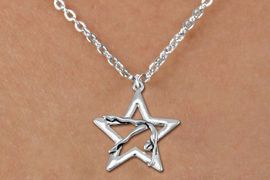 <bR>               EXCLUSIVELY OURS!!<BR>         AN ALLAN ROBIN DESIGN!!<BR>CLICK HERE TO SEE 600+ EXCITING<BR>   CHANGES THAT YOU CAN MAKE!<BR>      CADMIUM,  LEAD & NICKEL FREE!! <BR>W1307SN -  SILVER TONE GYMNAST POSED  <Br>IN STAR CHARM  & CHILDS NECKLACE <BR>      FROM $4.50 TO $8.35 �2012
